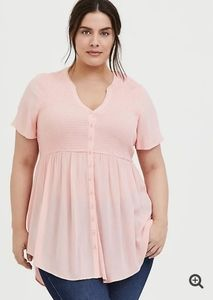 PEACH PINK CRINKLED GAUZE BABYDOLL TUNIC